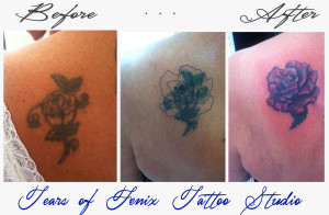 Tears of fenix tattoo studio - example of cover up rose