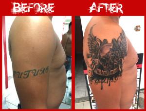 skull guns rose wings cover-up tatoauge grancanaria