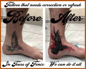 trash polka crow leg tattoo